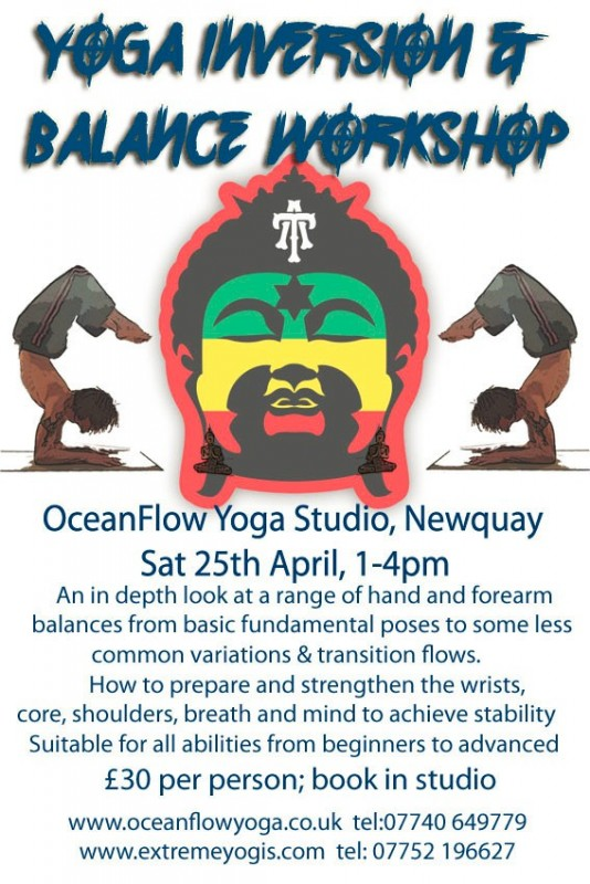 Newquay Cornwall Oceanflow Yoga Inversion Workshop Event