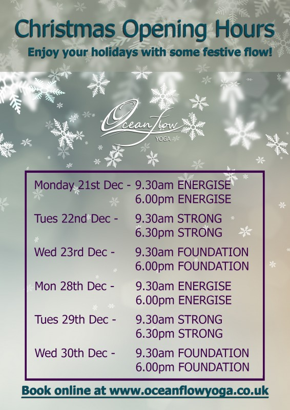 Christmas OPening hours timetable 2015 oceanflow yoga newquay cornwall