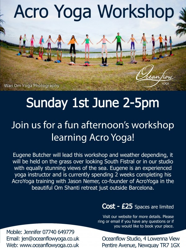Oceanflow yoga newquay cornwall acroyoga event workshop