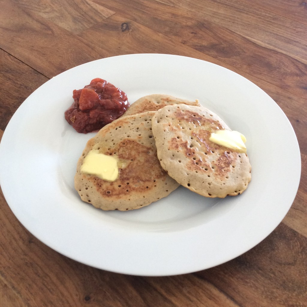 Gluten-free recipe Buckwheat pancakes peach compote oceanflow yoga newquay cornwall