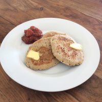 Summery Buckwheat Pancakes with Peach Compote
