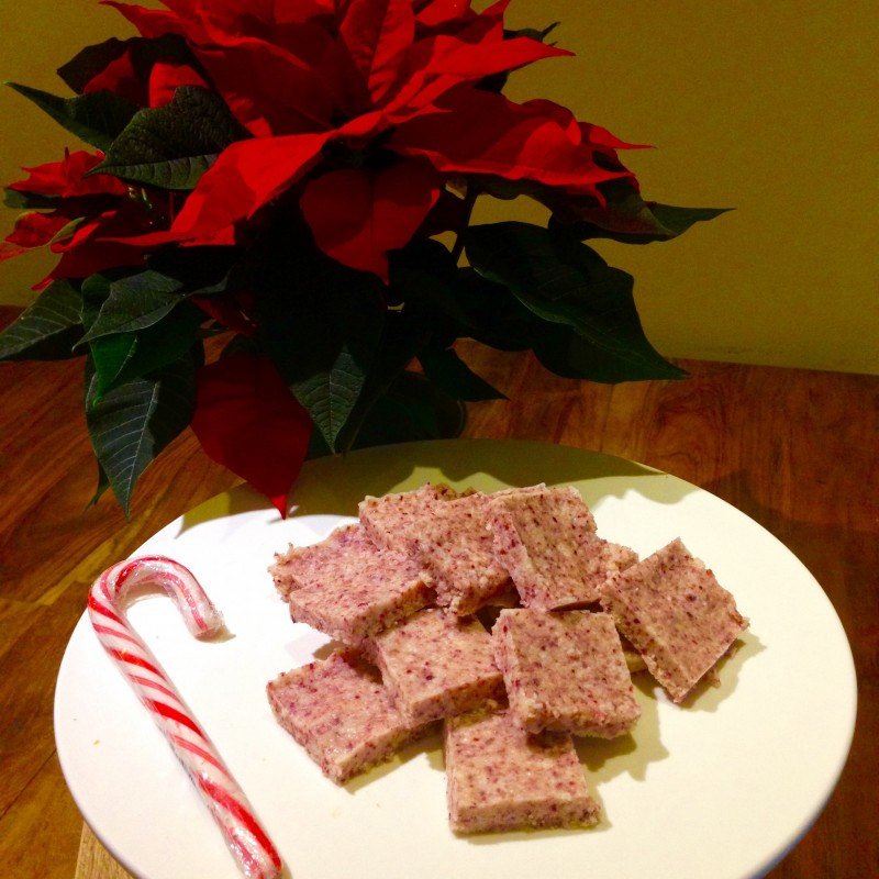 Candy cane fudge healthy snacks food recipe gluten-free dairy-free paleo oceanflow yoga cornwall newquay
