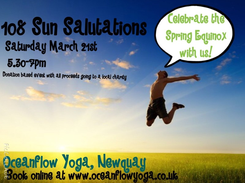 108 sun salutations Oceanflow yoga newquay cornwall studio classes hot vinyasa timetable event