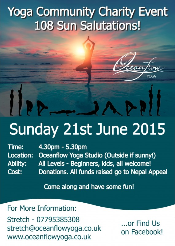 108 Sun Salutations Event Charity Oceanflow Yoga Cornwall