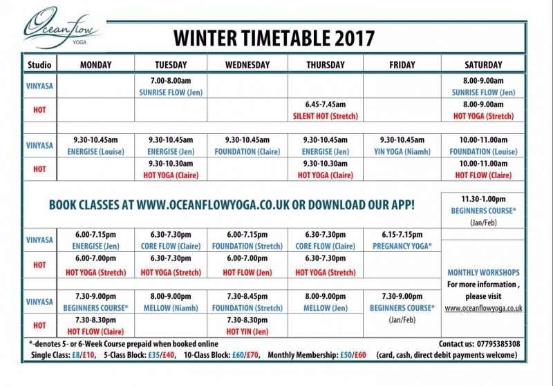 Yoga Classes Timetable Schedule Prices Pregnancy Vinyasa Hot Bikram Ashtanga Yin Workshops Newquay Cornwall