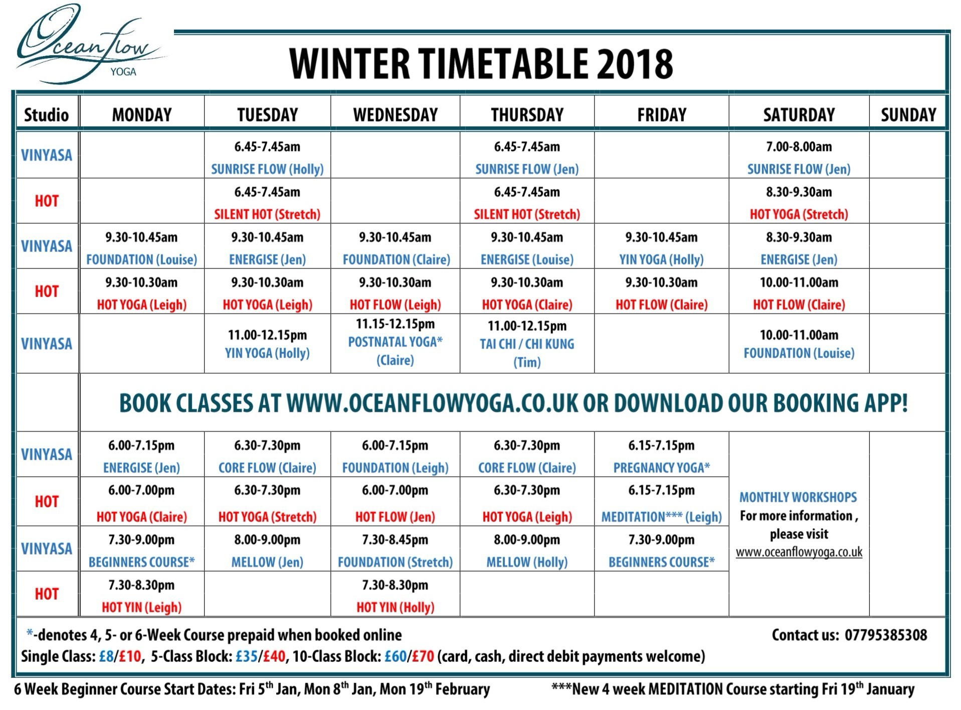 yoga class timetable winter 2018