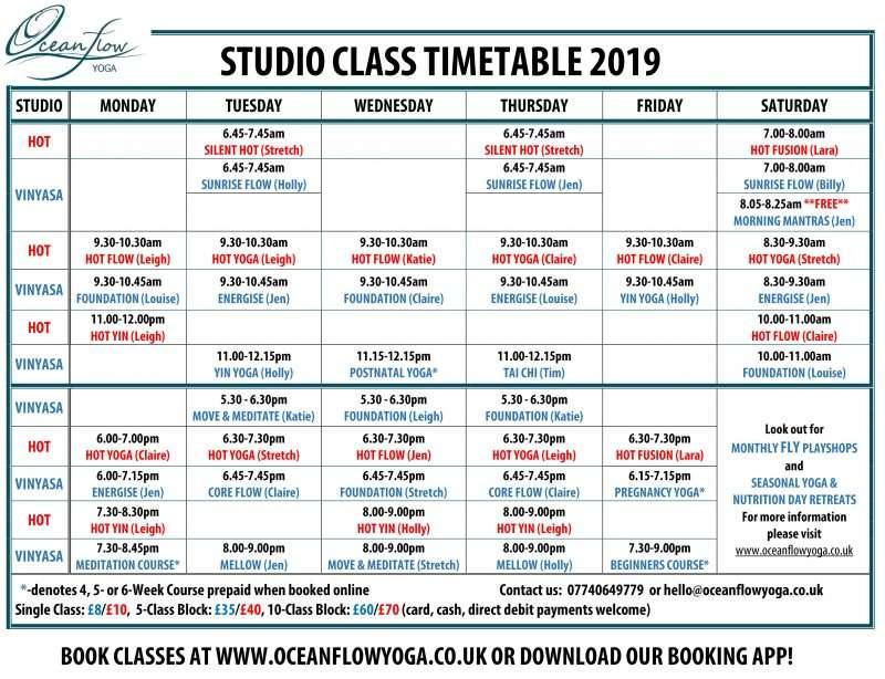 yoga class timetable newquay cornwall bikram ashtanga yin meditation