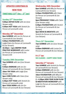 Christmas Yoga Newquay Cornwall