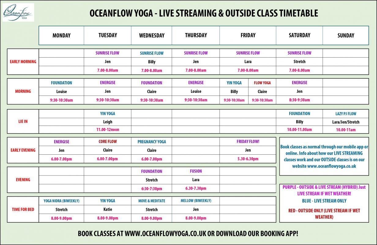 April Timetable online yoga beach yoga Newquay cornwall