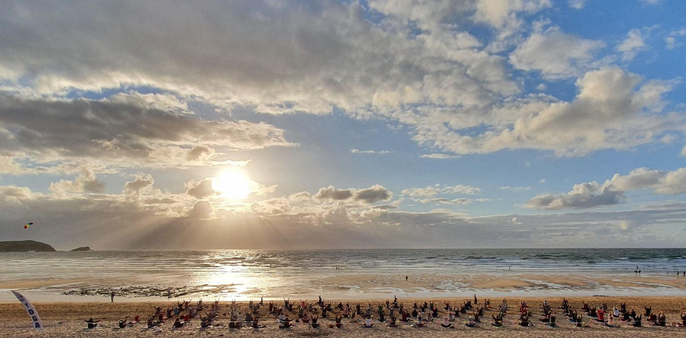 Silent Disco Yoga Socially Distanced Fistral Beach Vinyasa Event